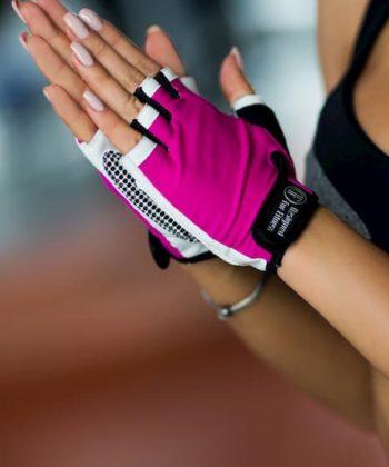Спортивные перчатки бело-розового цвета