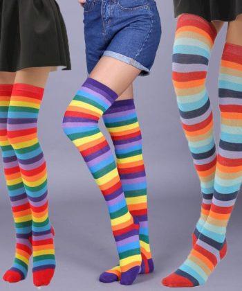 Высокие гольфы-чулки с разноцветными полоскамиполосками