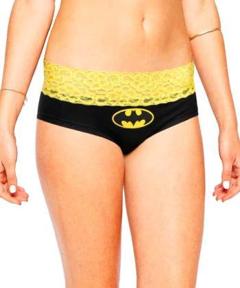 Женские трусики Бэтмен черного цвета с широким кружевом