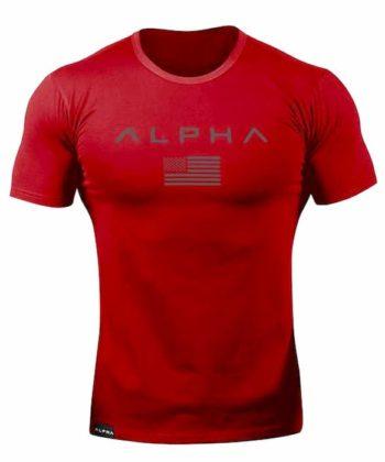 Футболка мужская с коротким рукавом красного цвета