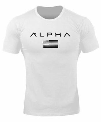 Футболка мужская с коротким рукавом белого цвета и надписью ALPHA
