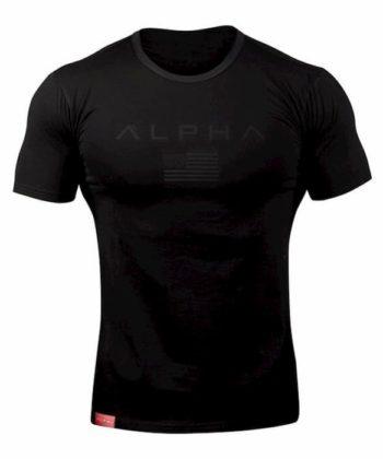 Футболка мужская черная с коротким рукавом ALPHA