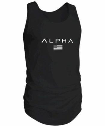 Майка мужская черная с надписью ALPHA
