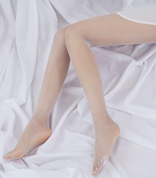 Колготки белые сетка мелкая