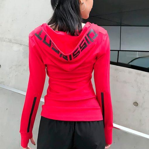Лонгслив с капюшоном женскийский красный Dissident вид сзади фото 2