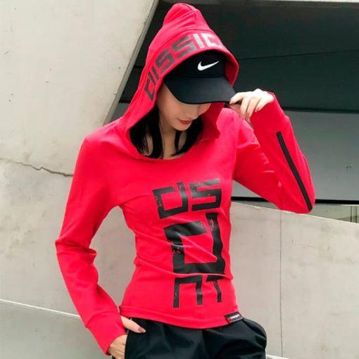 Лонгслив женский с капюшоном красный Dissident