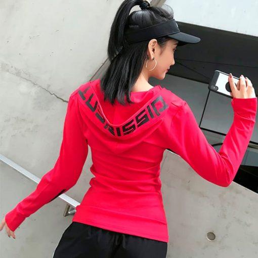 Лонгслив с капюшоном женскийский красный Dissident вид сзади фото 3